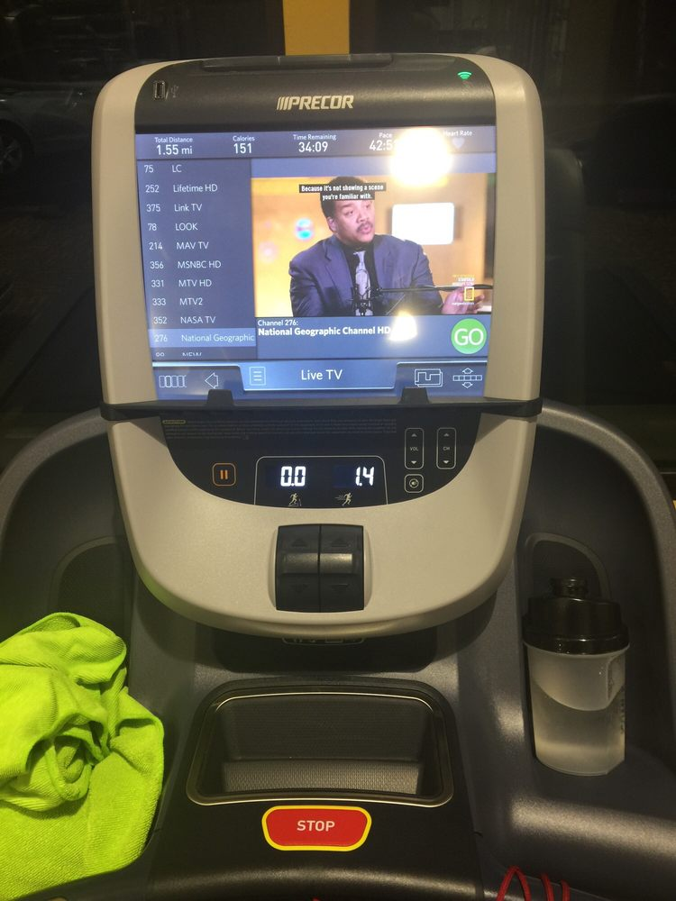 treadmill has its own television, phone charger, 2USB inputs for