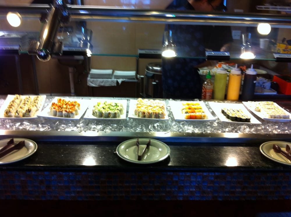 A lot of sushi from cooked sushi to raw fish yelp for Fish buffet near me