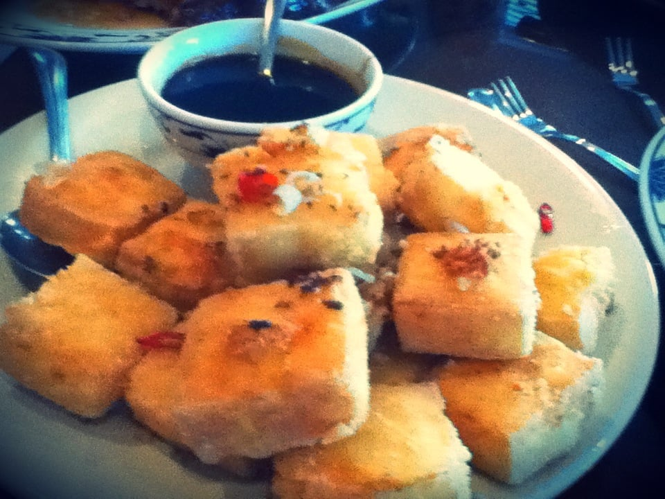 Cantonese Style Fried Tofu W Seafood Sauce Crispy On The Outside But Soft And Firm In The