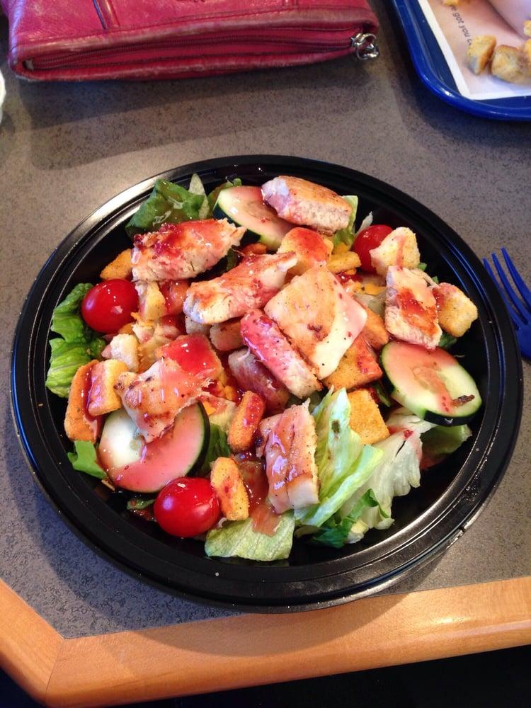 garden fresco salad with grilled chicken and raspberry vinaigrette yelp