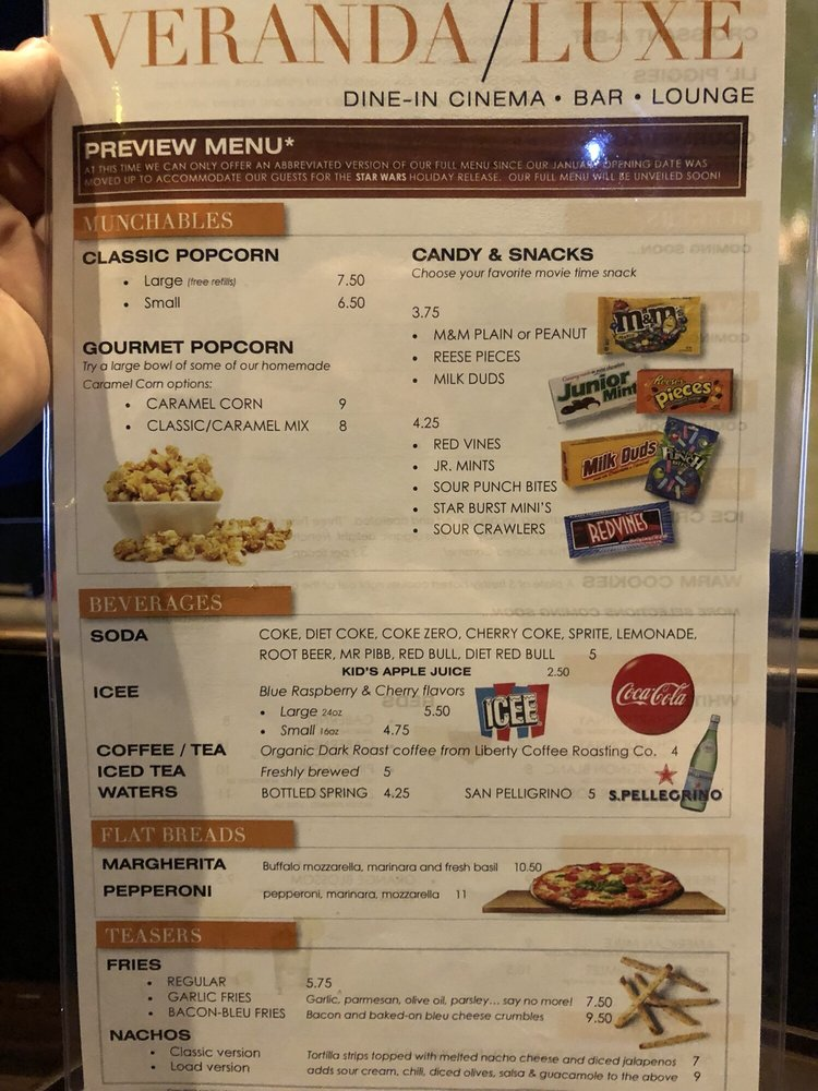 Menu Front On 12 18 17 Opening Week There Are No