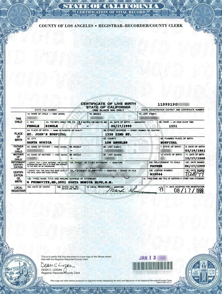 Click on photo to see full image: A CA birth certificate certified ...