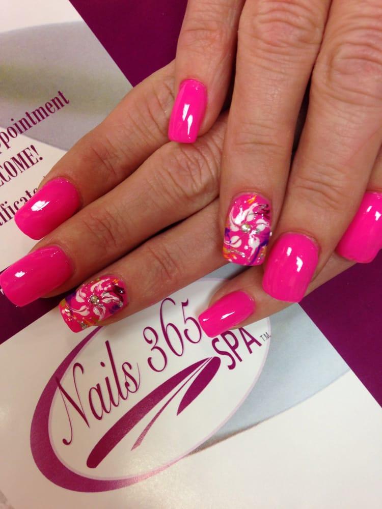 Hot pink nail polish. Acrylic nails. - Yelp
