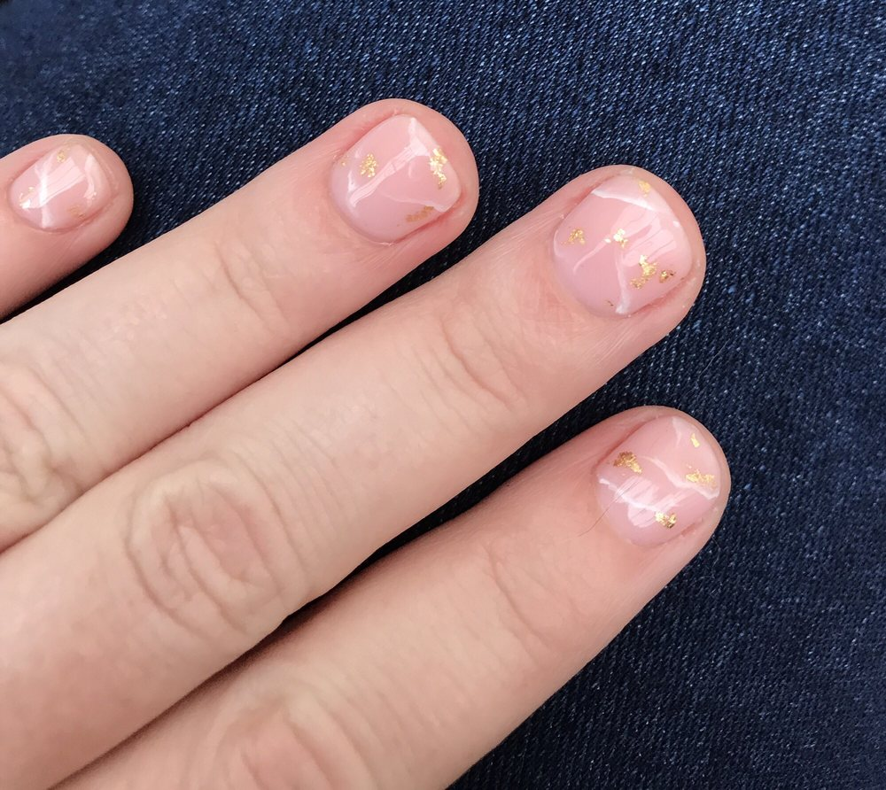 Light Pink Marble Gel Design With Gold Flakes Yelp