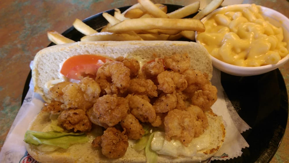 Shrimp po boy with fries and mac and cheese yelp for Penns fish house