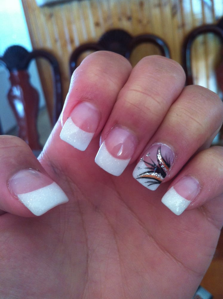 Acrylic Sparkly White Tips With A Design Yelp
