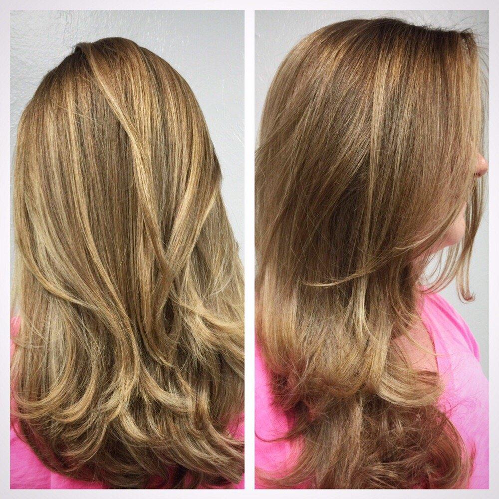 Natural Highlights With Long Layered Haircut Yelp