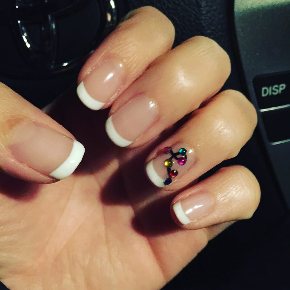 Today\'s holiday nails, French manicure and Christmas lights! Thanks ...