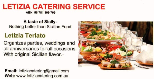 Photo Of Letizia Catering Service Melbourne Victoria Australia Business Card