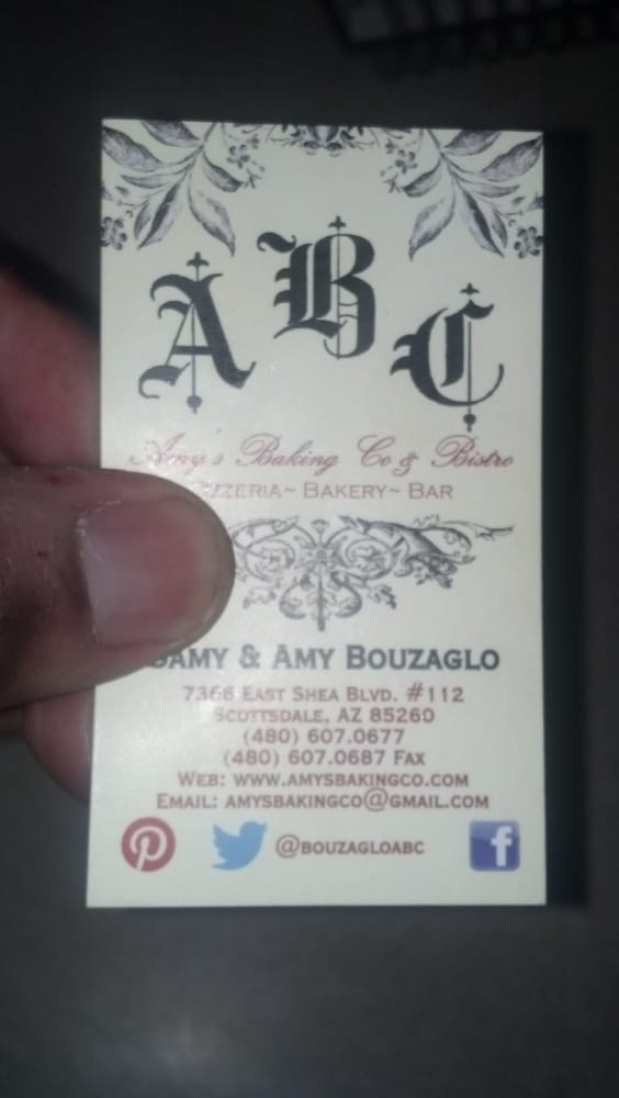 Amy\'s Baking Company business card that I picked up from my 9/24/13 ...