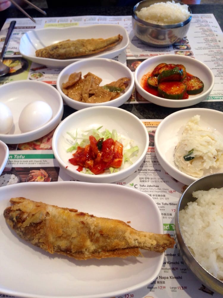 Korean side dishes and fried fish accompanies each meal yelp for Side dishes for fried fish