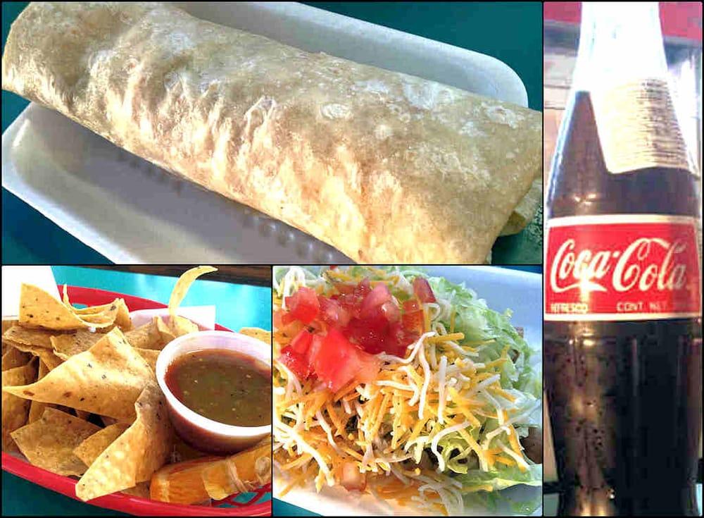 Collage - Carne Asada Burrito, Coca Cola de México, Rolled Tacos ...