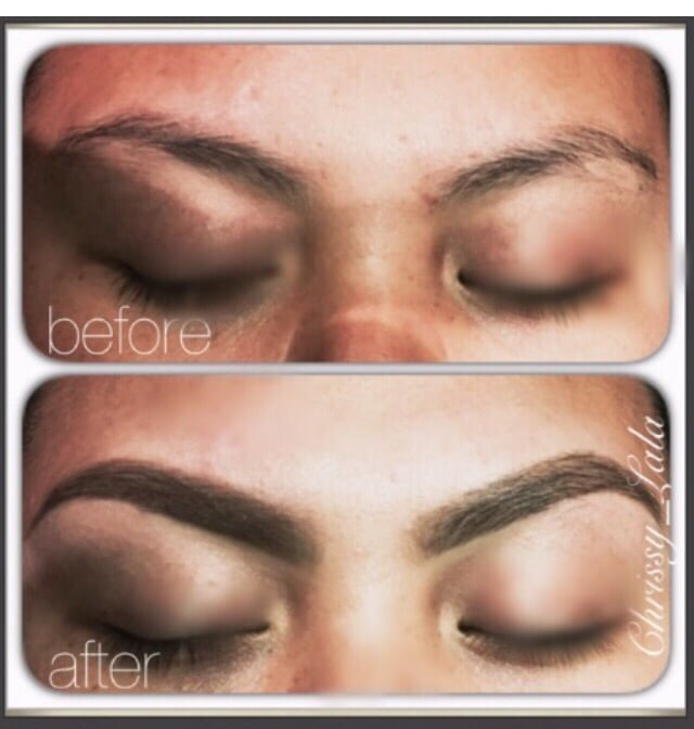 Before After Full Arch Lightly Feathered With Dip Brow Pomade