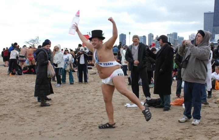New Year's Day 2012 Idiot Swim: 1600 N Lake Shore Dr, Chicago, IL