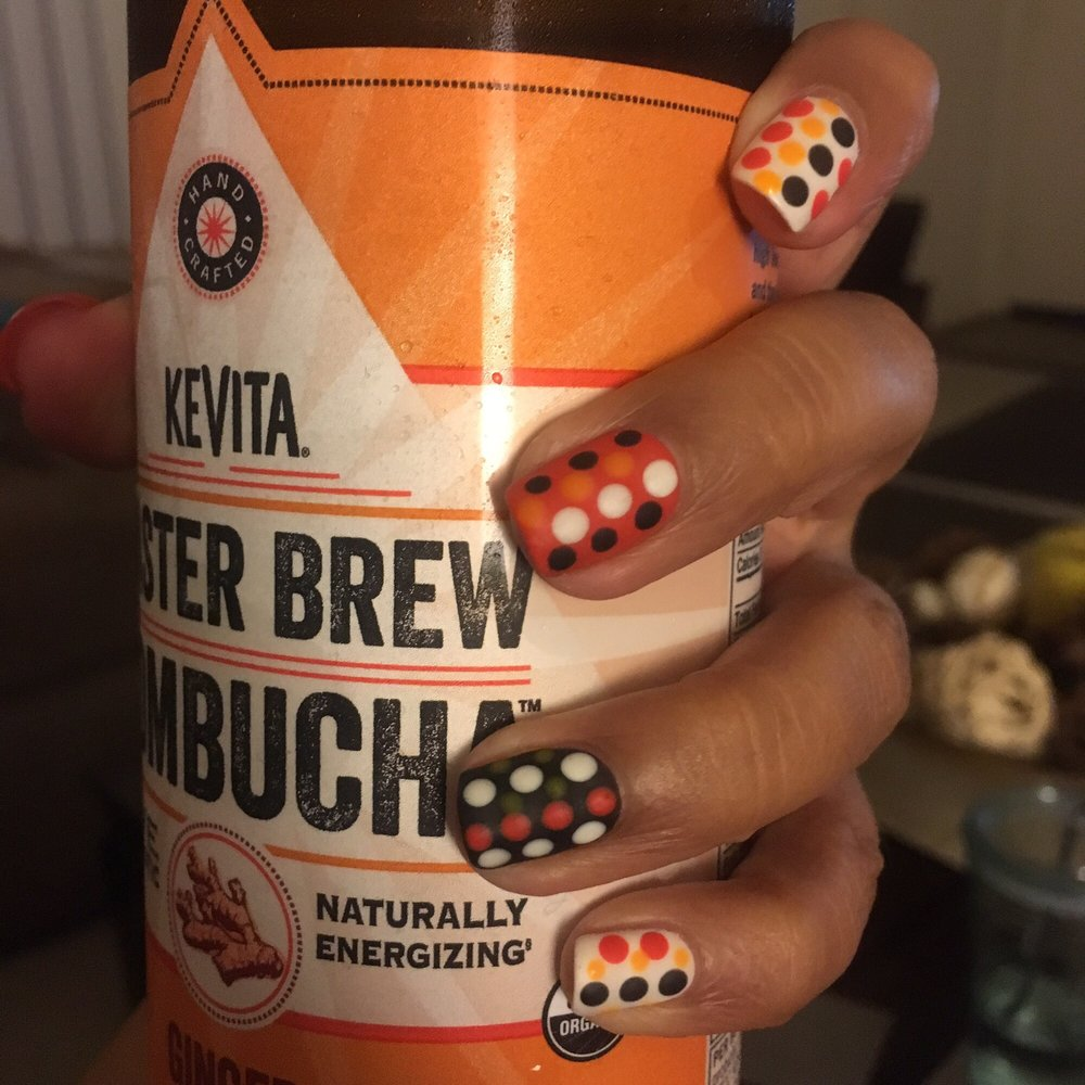 Polka dot party, Halloween or the 60s called? Gel nails with matte ...