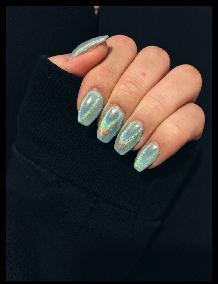 Gel nail extension with holographic powder - Yelp