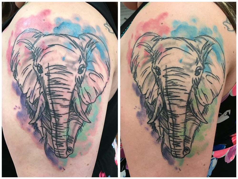 When Is Tattoo Healed: Left Photo: Fresh Tattoo / Right Photo: Healed Tattoo