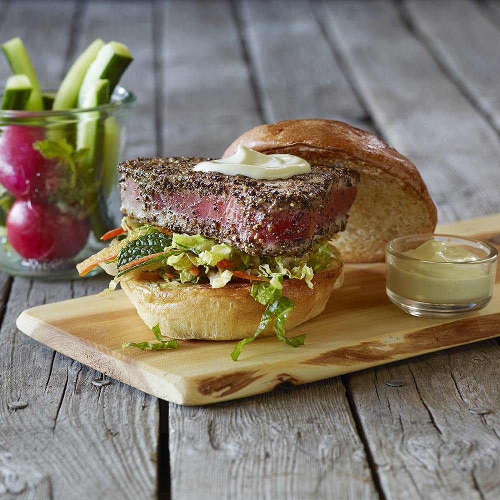Peppered tuna steak asian yuzu slaw and wasabi for Table 52 yelp