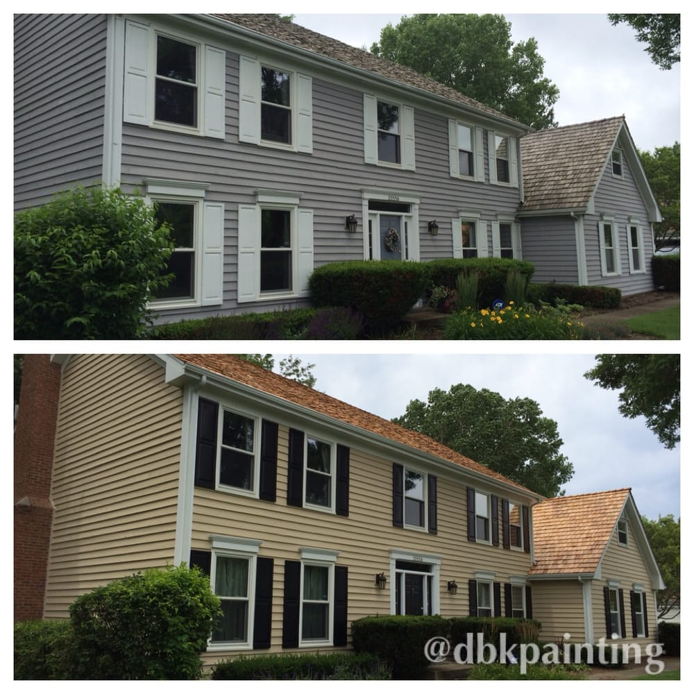 Exterior Cedar Siding Re-paint Before And After Using