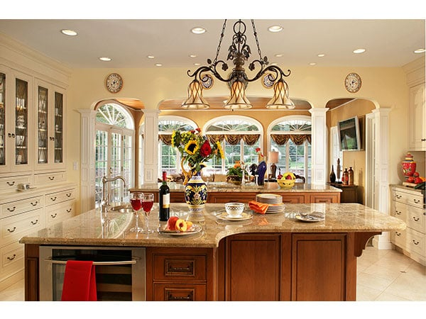 french country kitchen beautiful large working island with copper sink wine cooler and. Black Bedroom Furniture Sets. Home Design Ideas