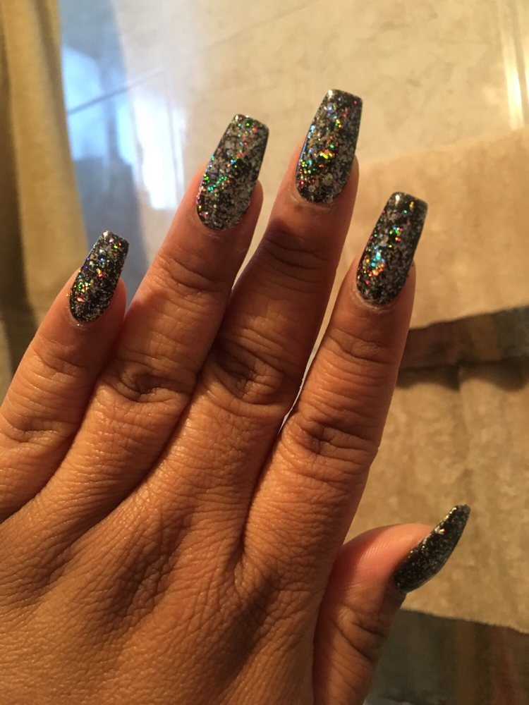 Galaxy Holo Gel coffin nails - Yelp