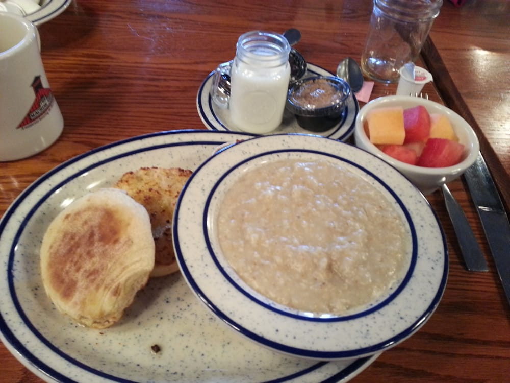 Oatmeal With Fruit And English Muffin Breakfast Pretty