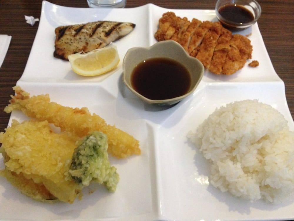 Bento box clockwise from bottom left mixed tempura for Naked fish millbrae