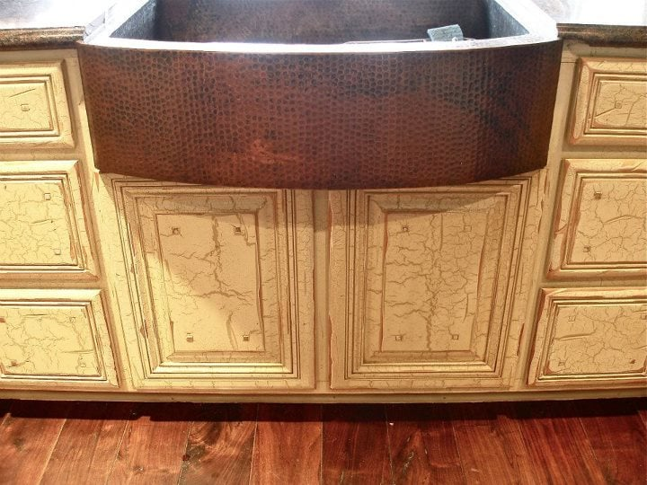 Antiqued crackled cabinets in ranch style home. - Yelp