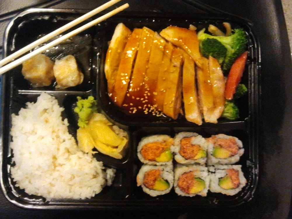 dinner bento box chicken teriyaki spicy tuna roll