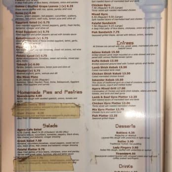 Cafe Agora Menu Atlanta Ga