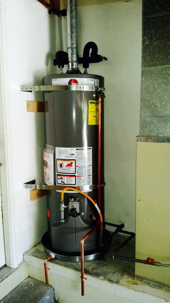 38 gallon rheem in a garage with a pan yelp