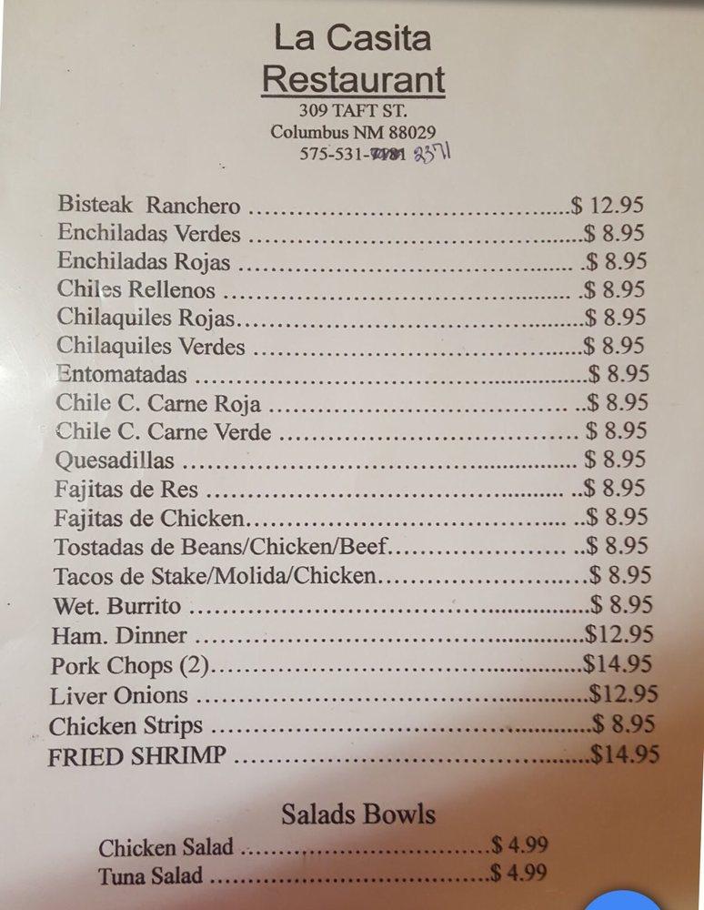 La Casita Restaurant: 309 Taft St, Columbus, NM