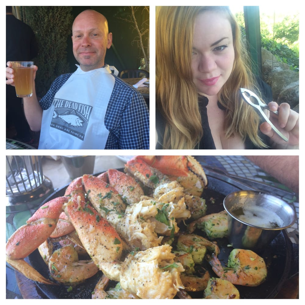 My guy and i celebrate with great seafood at the dead fish for Dead fish crockett