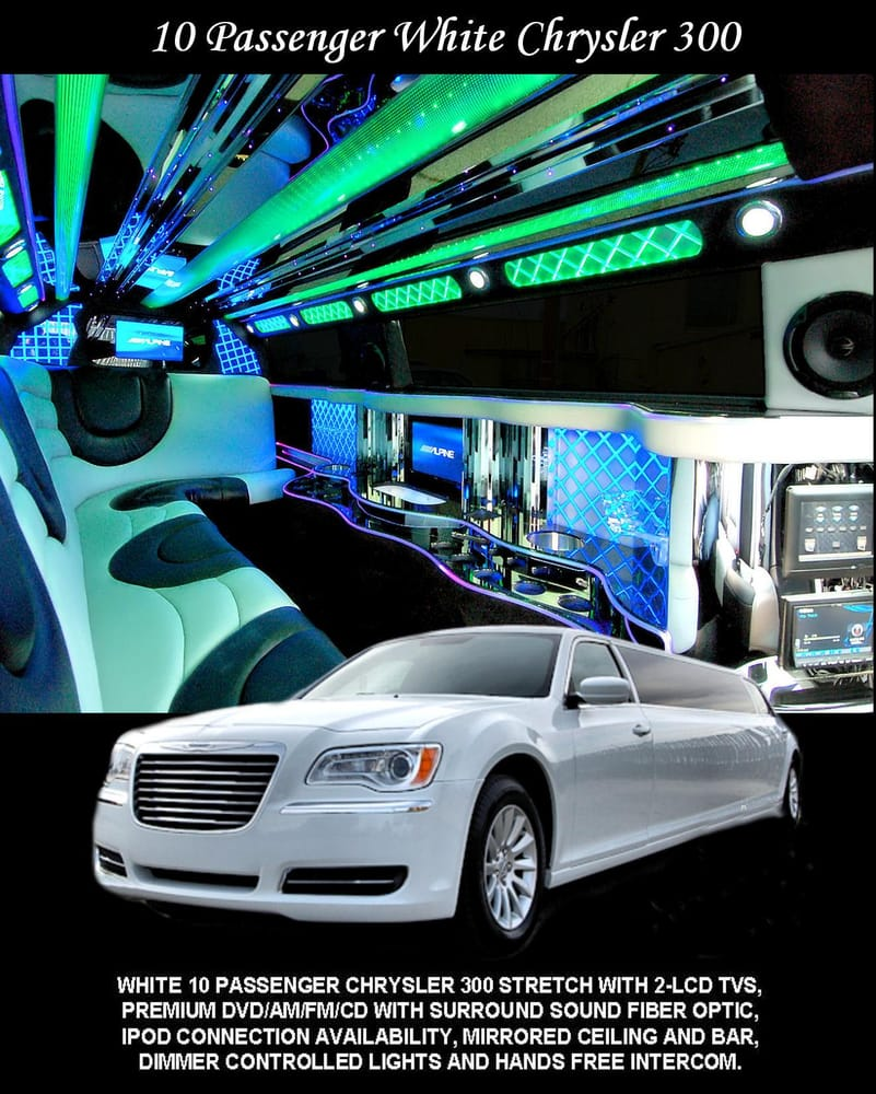 WHITE 10 PASSENGER CHRYSLER 300 STRETCH WITH 2-LCD TV'S