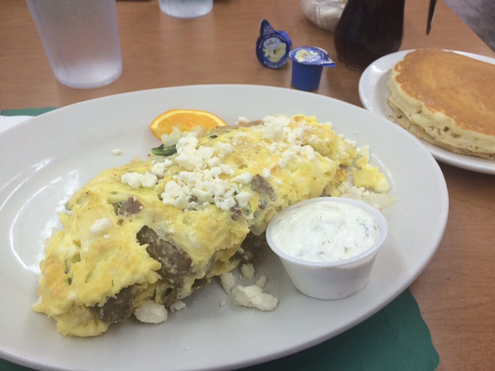 Greek Frittata Omelette Plus Pancakes (feta On Top,gyro