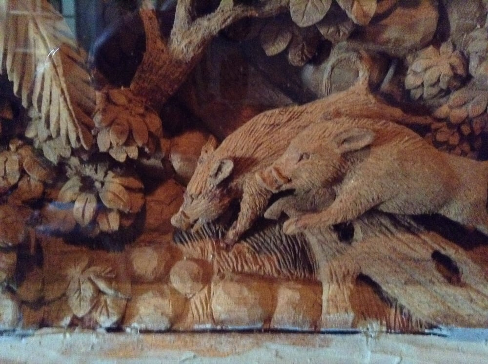 This carving work of art is from one tree the detail is for Aroma royal thai cuisine
