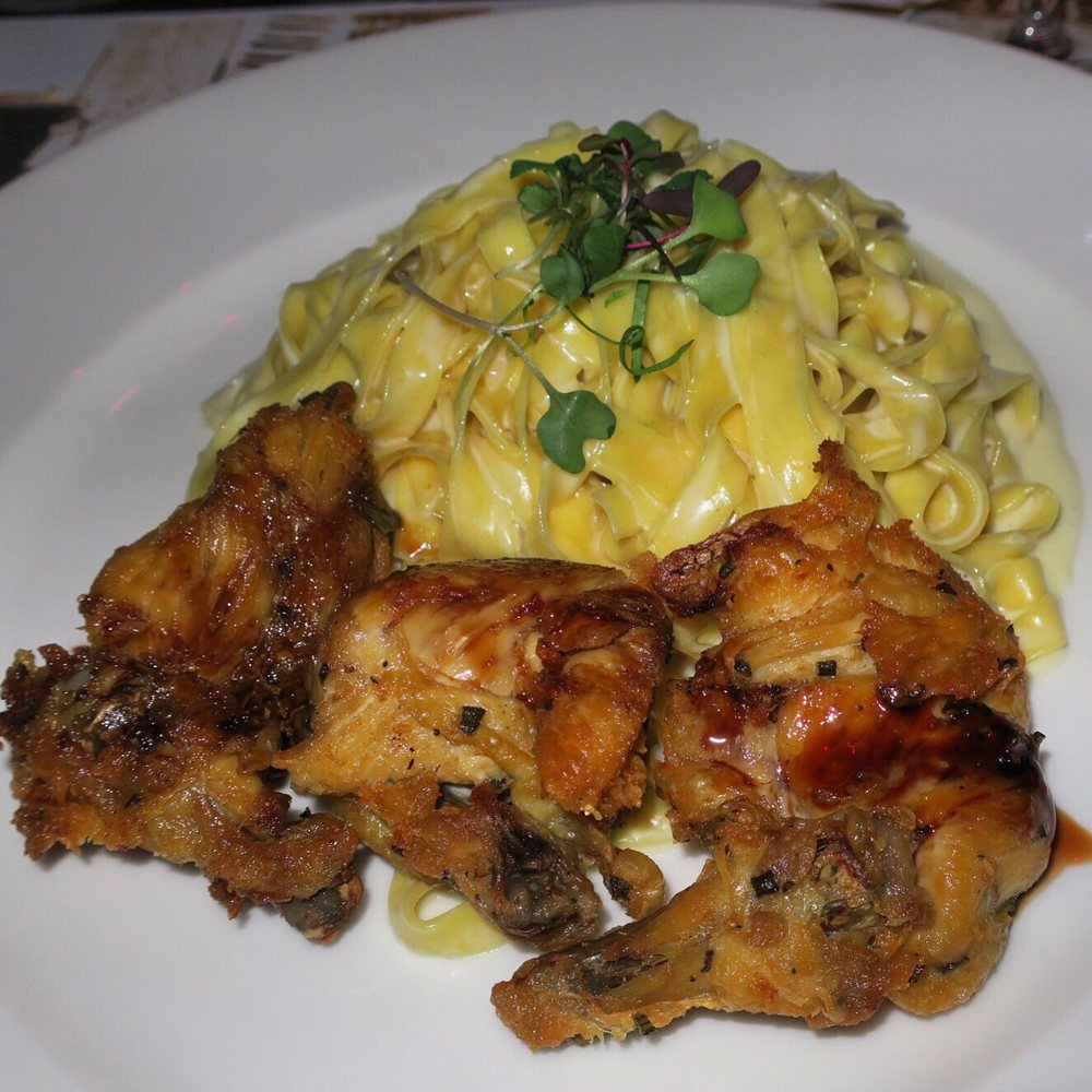 Cornish Hen And Fettuccini In A Truffle Butter Sauce