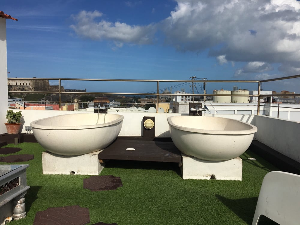 funky bathtubs on the roof - yelp