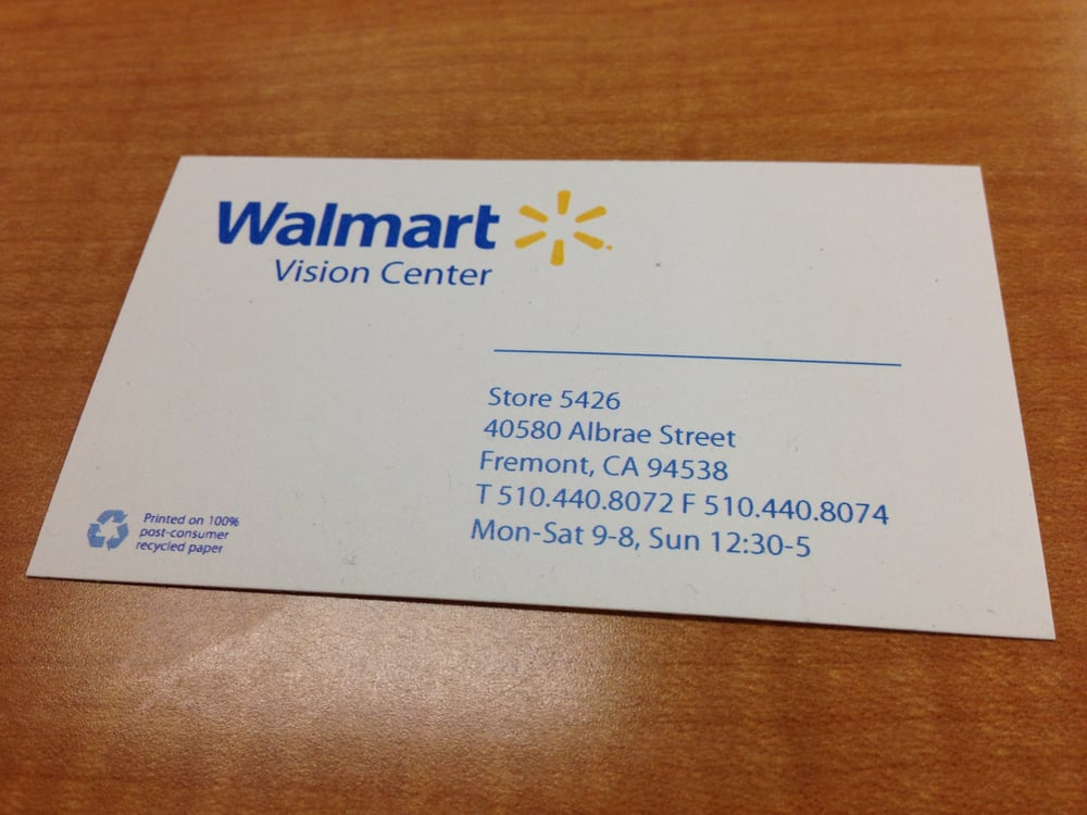 Walmart Vision Center Store 5426 Business Card Yelp
