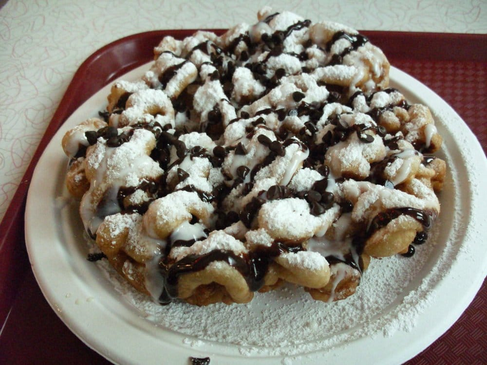 Chocolate Funnel Cake With Cherry Sauce