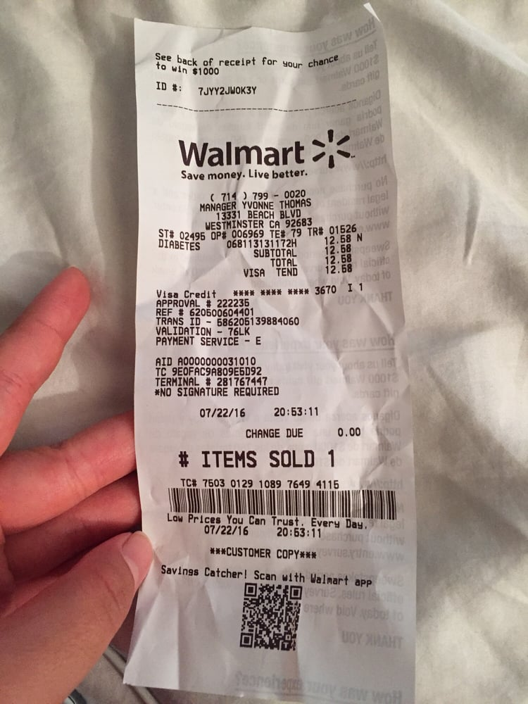 the receipt from walmart beach and trask yelp