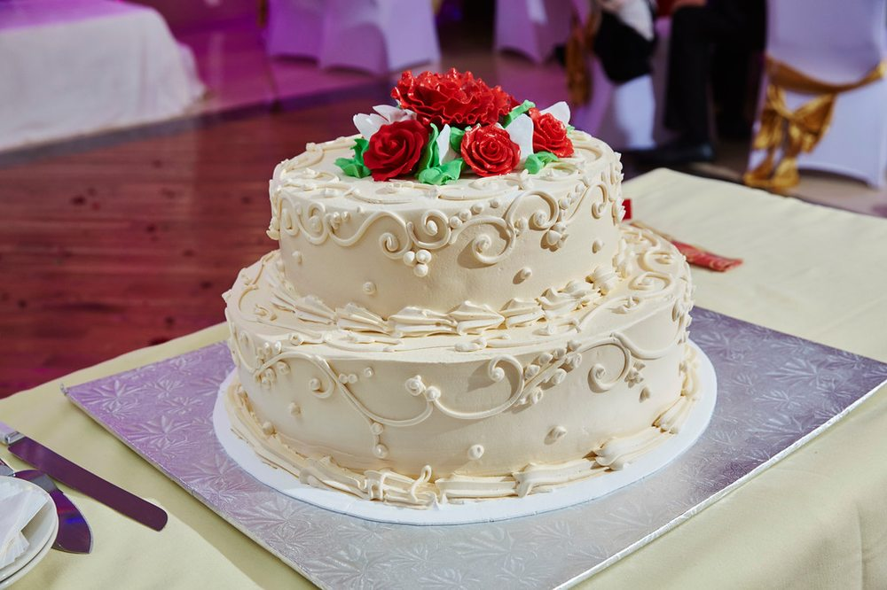 Cake made by D&D Bakery for our wedding reception (Golden cake with ...