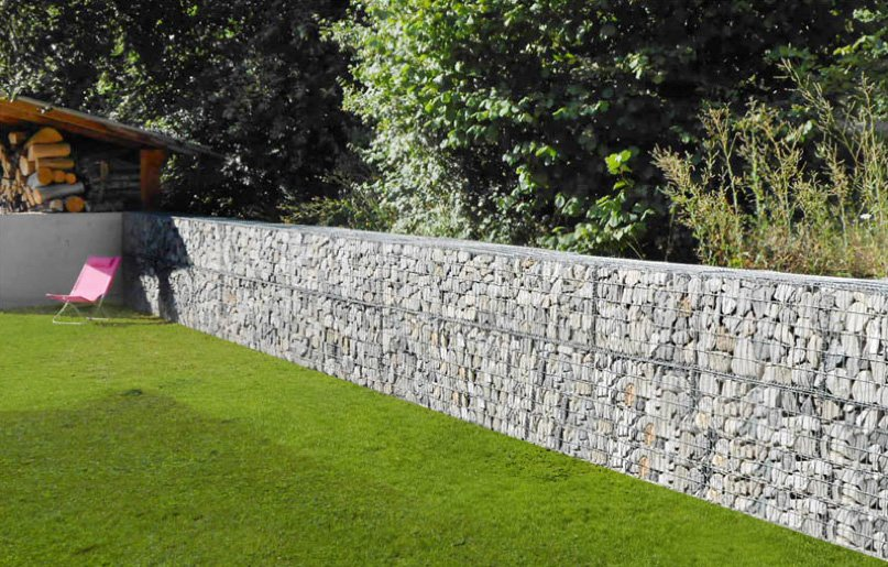 gabion basket retaining wall from stone decorative | gabions ...
