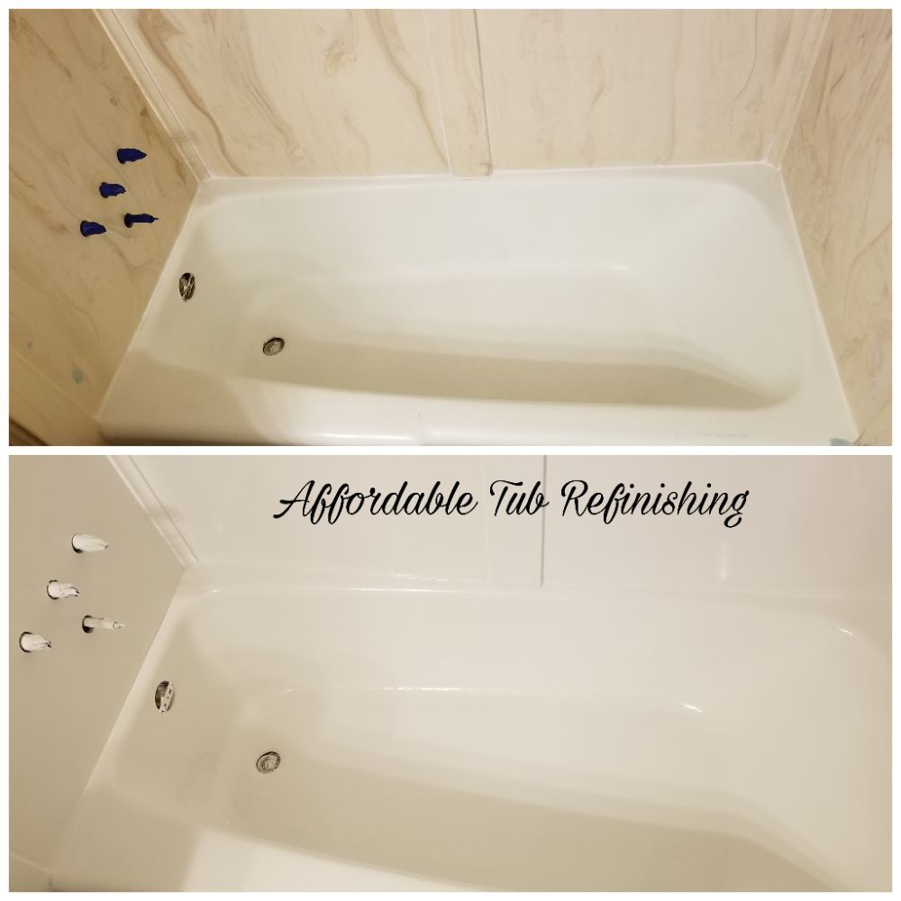 Refinished this cultured marble wall and porcelain tub and gave a ...