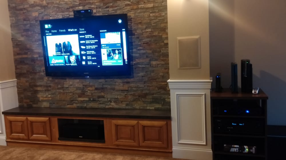 Custom Stone Fireplace With Built In Entertainment Center