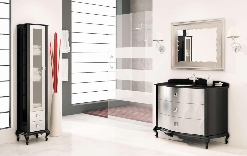 Guest bathroom vanity venezia 44 black silver laquered for Bathroom cabinets yelp