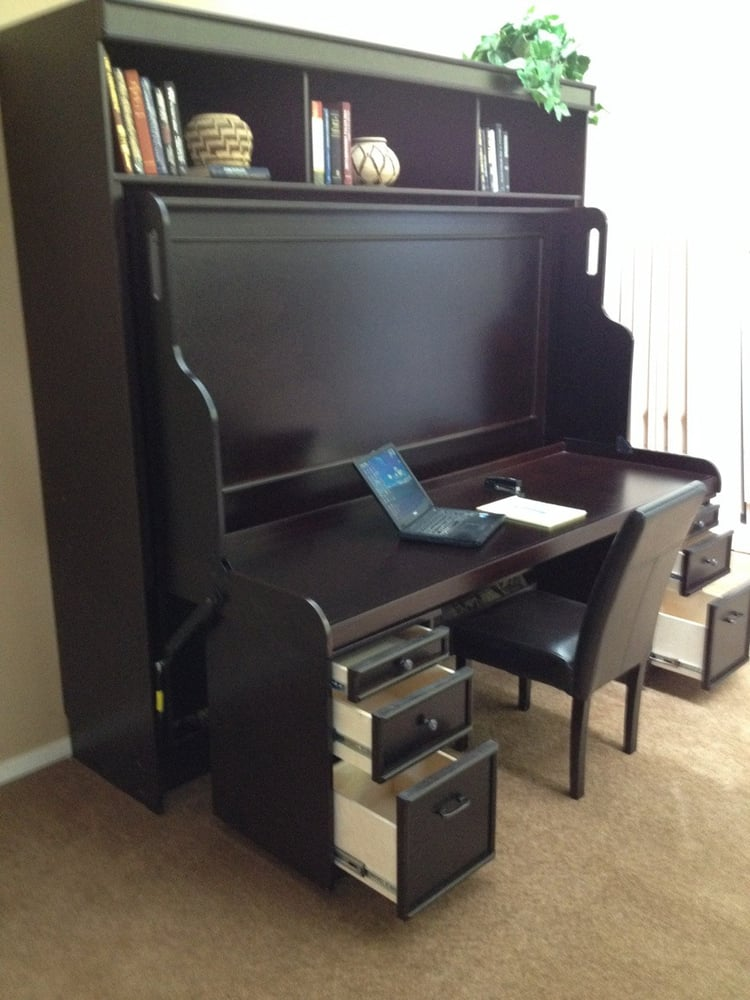 deluxe hidden desk bed w optional rolley files yelp. Black Bedroom Furniture Sets. Home Design Ideas