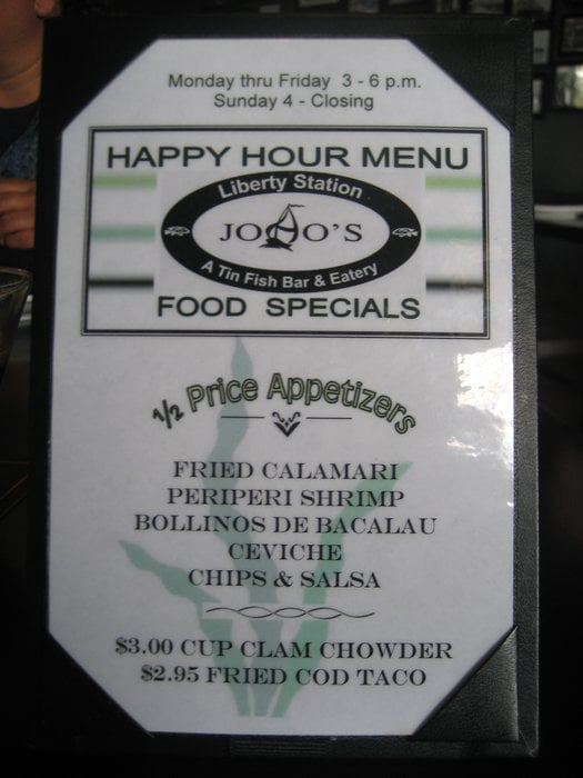 Happy hour food specials yelp for Tin fish menu