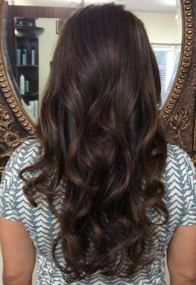 Balayage Golden Brown Highlights And Espresso Brown Base