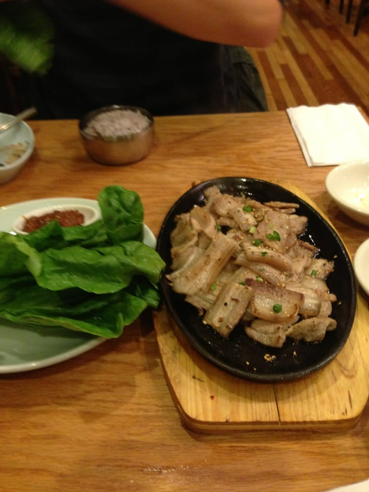 Pork belly with lettuce and sauce yelp for Asiana korean cuisine restaurant racine